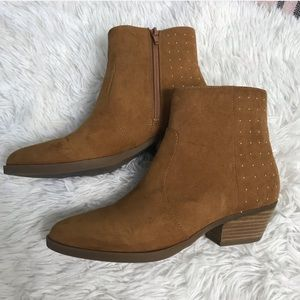 Guess Velina Suede Healed Booties Boots Stud Tan 8